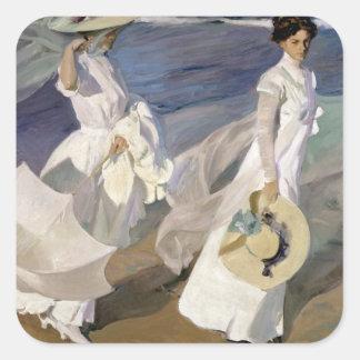 Strolling along the Seashore, 1909 Square Sticker