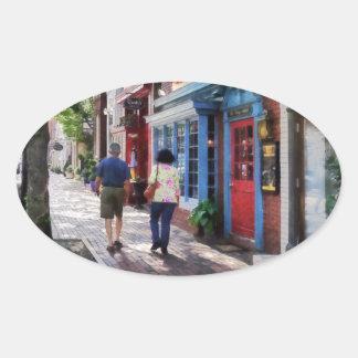 Strolling Down King Street Alexandria VA Oval Sticker