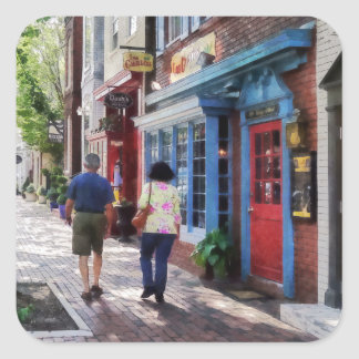 Strolling Down King Street Alexandria VA Square Sticker
