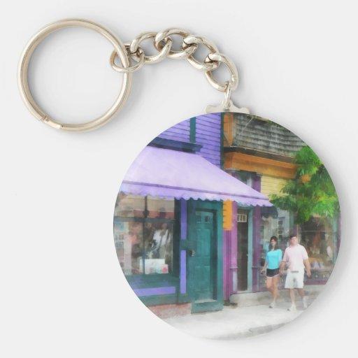 Strolling Down Thames Street Newport RI Basic Round Button Keychain