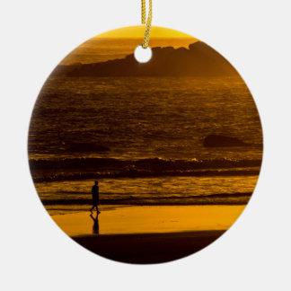 Strolling Harris Beach At Sunset - Oregon Ceramic Ornament