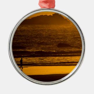 Strolling Harris Beach At Sunset - Oregon Metal Ornament