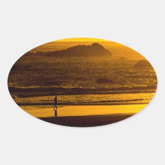 Strolling Harris Beach At Sunset - Oregon Oval Sticker