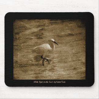 Strolling White Egret Mousepad