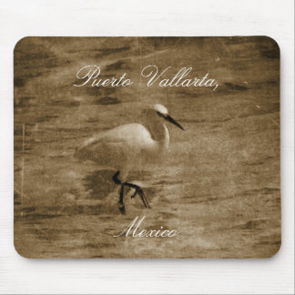 Strolling White Egret Mouse Pad