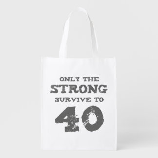 Strong 40th Birthday Reusable Grocery Bags