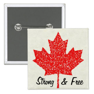 Strong and Free Canadian Flag Maple Leaf 2 Inch Square Button