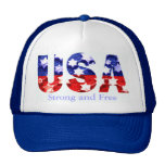 Strong and Free USA Flag Cap Hat