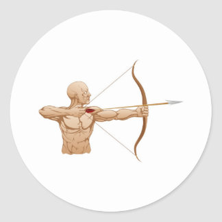Strong archer with bow and arrow round stickers