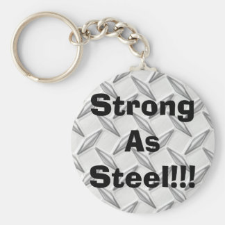 Strong As Steel!!! Basic Round Button Keychain