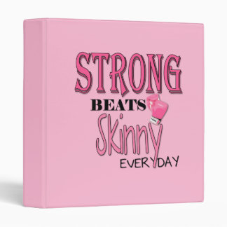 STRONG BEATS Skinny everyday! Pink Boxing Gloves 3 Ring Binders