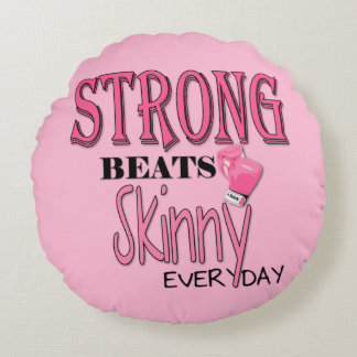 STRONG BEATS Skinny everyday! Pink Boxing Gloves Round Pillow