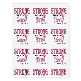 STRONG BEATS Skinny everyday! Pink Boxing Gloves Temporary Tattoos