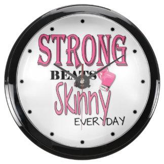 STRONG BEATS Skinny everyday! W/Pink Boxing Gloves Fish Tank Clocks