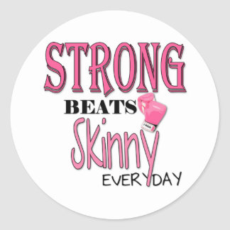 STRONG BEATS Skinny everyday! W/Pink Boxing Gloves Classic Round Sticker