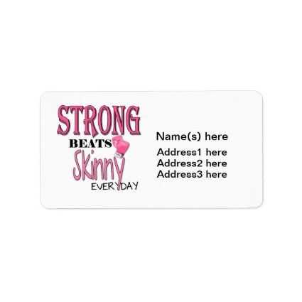 STRONG BEATS Skinny everyday! W/Pink Boxing Gloves Personalized Address Labels