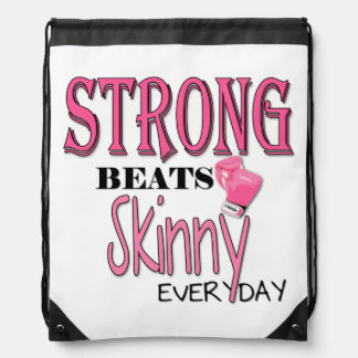 STRONG BEATS Skinny everyday! W/Pink Boxing Gloves Drawstring Backpack