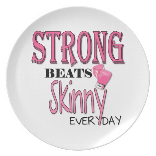 STRONG BEATS Skinny everyday! W/Pink Boxing Gloves Party Plate
