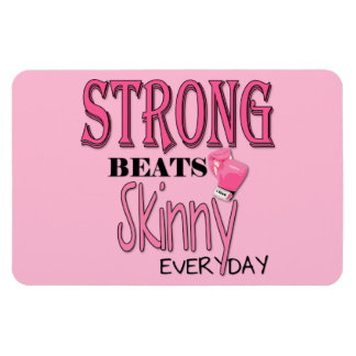 STRONG BEATS Skinny everyday! W/Pink Boxing Gloves Rectangular Photo Magnet