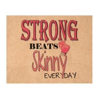 STRONG BEATS Skinny everyday! W/Pink Boxing Gloves Cork Paper Print