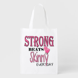 STRONG BEATS Skinny everyday! W/Pink Boxing Gloves Reusable Grocery Bag