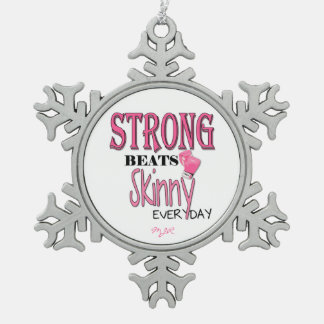 STRONG BEATS Skinny everyday! W/Pink Boxing Gloves Snowflake Pewter Christmas Ornament