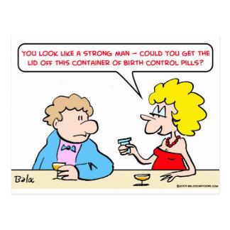 strong birth control pills postcard