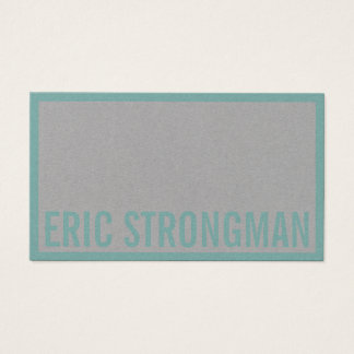 Strong bold style framed cyan gray business card