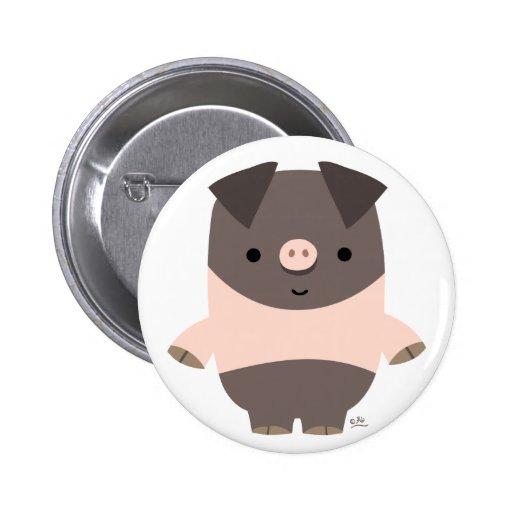 Strong Cartoon Pig button badge
