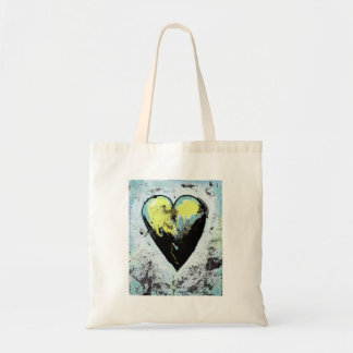 Strong heart art messy expressive scarred painting tote bags