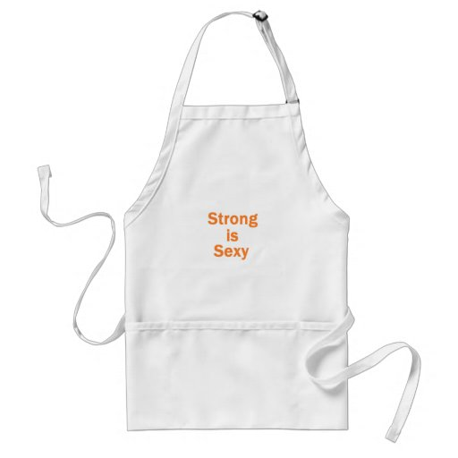 Strong is sexy- orange aprons