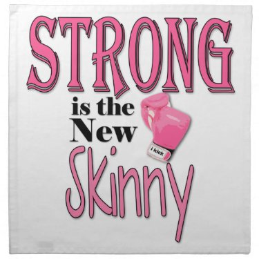 STRONG is the new Skinny! With Pink Boxing Gloves Printed Napkins