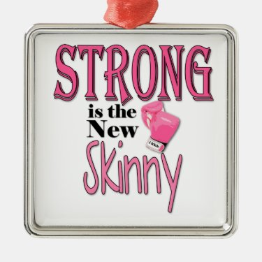 STRONG is the new Skinny! With Pink Boxing Gloves Christmas Tree Ornament