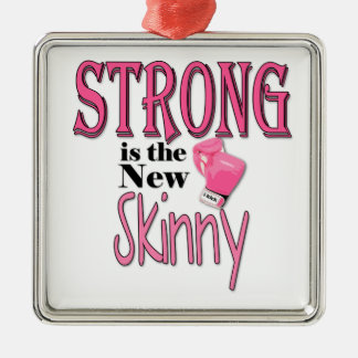 STRONG is the new Skinny! With Pink Boxing Gloves Square Metal Christmas Ornament