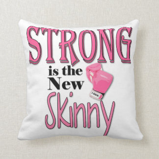 STRONG is the new Skinny! With Pink Boxing Gloves Throw Pillow