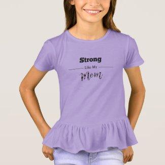 Strong Like Mom Girl Ruffle Tee Purple