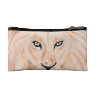 Strong Lion Portrait Oil Art Makeup Bag