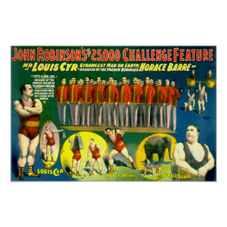Strong Men Circus Show Vintage 1898 Poster