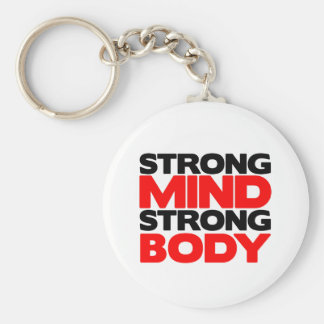 Strong Mind Strong Body Basic Round Button Keychain