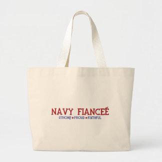 Strong Proud Faithful - Navy Fiancee Large Tote Bag