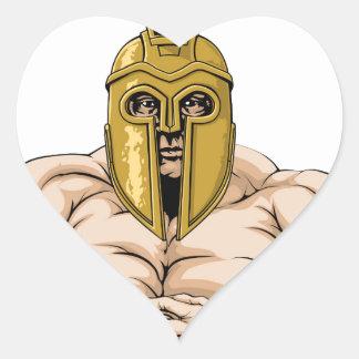 Strong Spartan or Trojan Mascot Heart Sticker