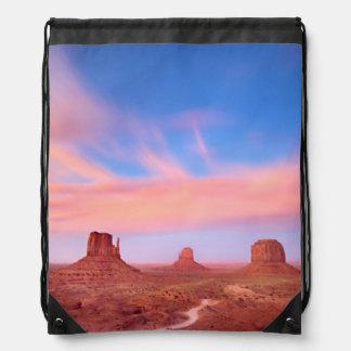 Strong Winds over Desert Valley Drawstring Bag