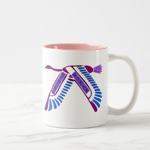 Strong Woman Flying Two-Tone Coffee Mug