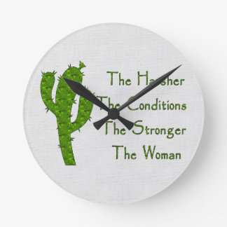 Strong Woman Round Clock