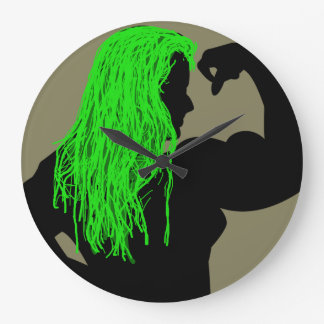 Strong Woman Silhouette. Green Hair Large Clock