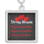 Strong Women Square Pendant Necklace