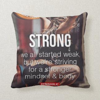 STRONG, Women's Weight Lifting Inspirational Words Throw Pillow