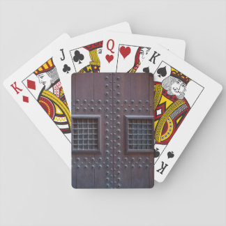 Strong Wooden Brown Door in Spain Poker Deck