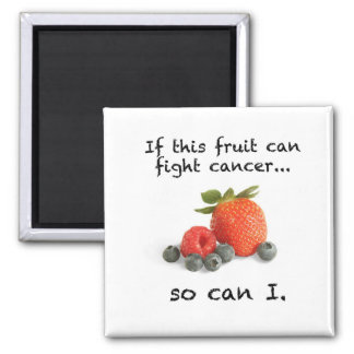 Stronger Than Cancer: berries 2 Inch Square Magnet