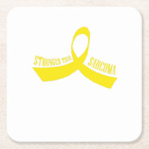 Stronger Than Sarcoma Awareness Square Paper Coaster